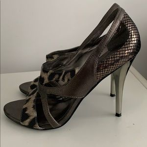 GUESS Leopard and Chrome Heels